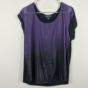 Forever 21+ Purple Ombre Top Size XL Cuff Sleeve